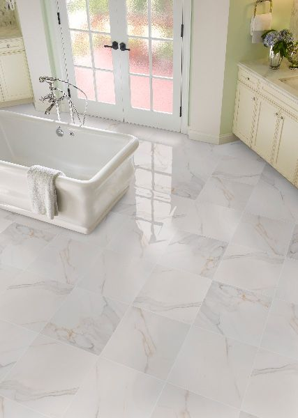 Adella Calacatta Porcelain Tile In 2020 Marble Flooring Design Bathroom Flooring Vinyl Flooring Bathroom