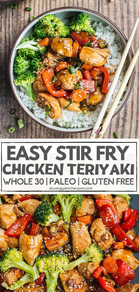 healthy stir fry This Chicken Teriyaki Stir Fry recipe tastes better than takeout and is easy to make too! The sweet and sticky teriyaki sauce is just perfect and is paleo, ket Teriyaki Stir Fry, Chicken Teriyaki Rezept, Sauce Teriyaki, Healthy Teriyaki Chicken, Healthy Chinese Recipes, Healthy Chicken Recipes, Healthy Dinner Recipes, Healthy Stirfry Recipes, Gluten Free Dinners Easy