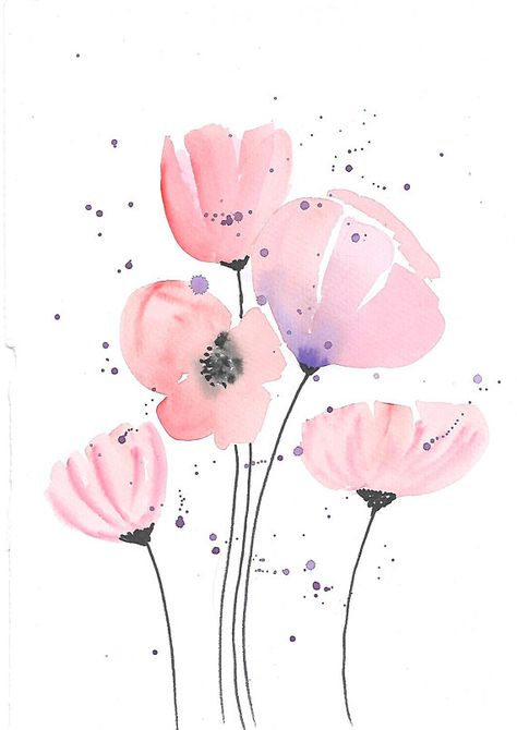 Floral painting Original Watercolor Painting Wall Decor red poppy Painting Flowers Painting floral
