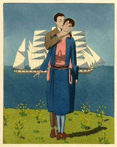 Brise du large (Robe de voyage de noces de Doeuillet)  From Gazette du bon ton, Paris, 1921