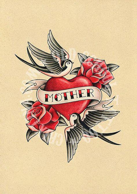 T11. AMORE DI MADRE. cuore, Rose, rondini, tattoo Flash. Tatuaggio della vecchia scuola. illustrazione, Download istantaneo del tatuaggio. Illustrazione di stampabile.