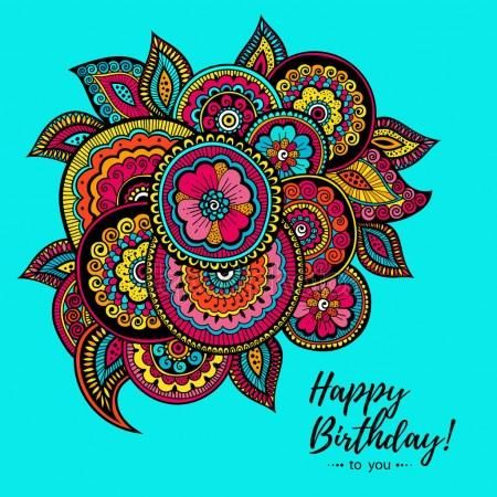 Download Happy Birthday Card With Indian Floral Pattern Stock Illustration 161462128 Birthday Cards Happy Birthday Cards Happy Birthday