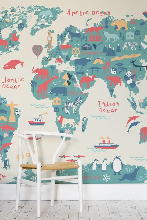 Explorer Kids World Map Mural MuralsWallpapercouk - World map for playroom