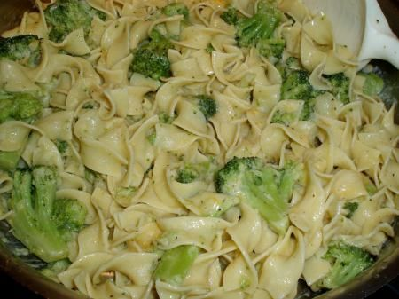 broccoli and egg noodles recipe. I will try with veggie broth in place of chicken broth