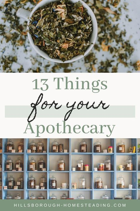 Make sure you're fully stocked for all your home remedy needs! Check out these 13 things you NEED in your home apothecary to be prepared for all of your herbal medicine needs! Holistic Medicine, Natural Medicine, Herbal Medicine, Healing Herbs, Medicinal Plants, Natural Healing, Holistic Remedies, Herbal Remedies, Natural Remedies