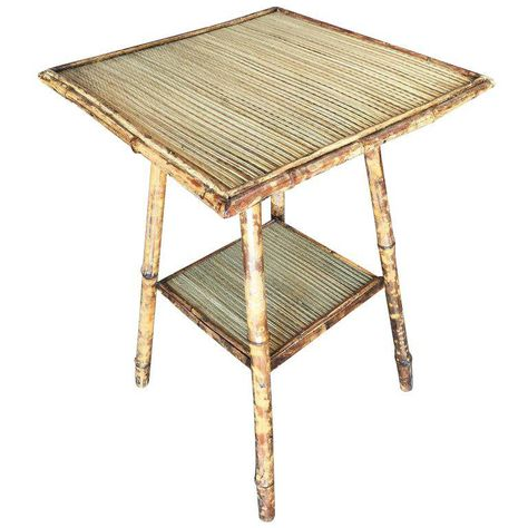 Restored Tiger Bamboo Pedestal Side Table With Slat Bamboo Top