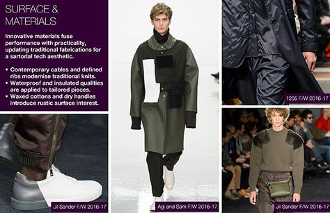 #Trendstop Essential F/W 2018 theme on #WeConnectFashion. Menswear Trend: Minimalist Utility, surface & materials