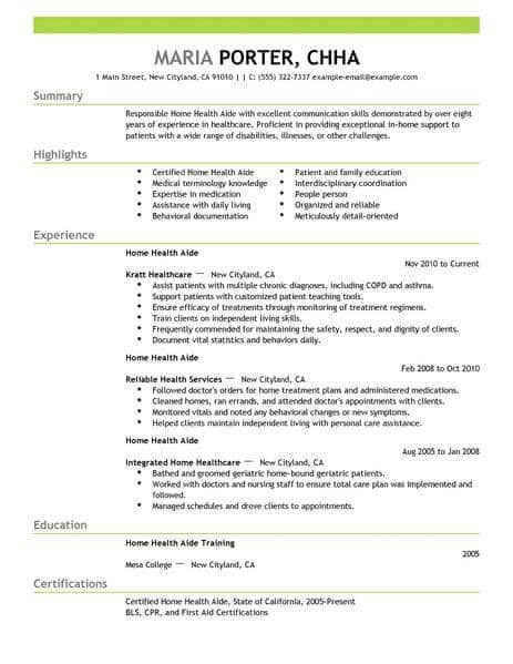 Resume Examples Home Health Aide | Home health, Cover letter ...