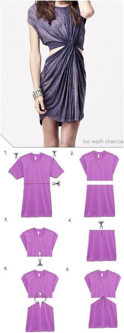 No Sew Dress from a T-shirt – DIY