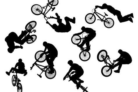 BMX Cyclist Silhouette Vector Set (22802)   Illustrations   Design Bundles