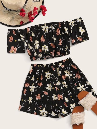 To find out about the Floral Print Off Shoulder Top With Shorts at SHEIN, part of our latest Two-piece Outfits ready to shop online today!