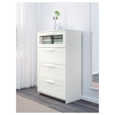 BRIMNES white, frosted glass, Chest of
