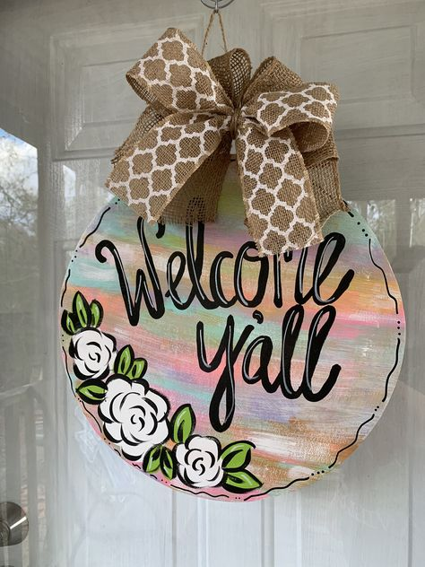 Excited to share this item from my shop: Rustic Rainbow Abstract Spring Welcome Door Hanger Cross Door Hangers, Burlap Door Hangers, Baby Door Hangers, Painted Doors, Wooden Doors, Wooden Signs, Welcome Door, Classic Doors, Spring Door