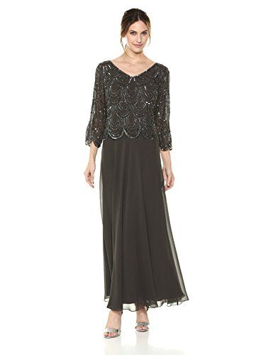 0485981eca4 J Kara Womens 3 4 Sleeve With Scallop Beaded Pop Over Gown