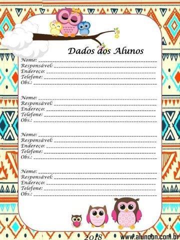Caderno De Planejamento 2018 Tema Corujinhas Educacao Infantil