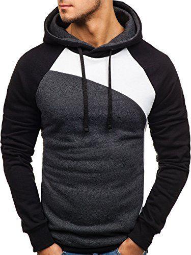 BOLF Herren Kapuzenpullover Sweatshirt Hoodie Basic Sport