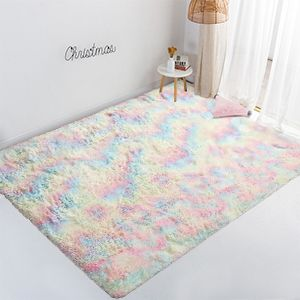Soft Rainbow Area Rug for Girls Kids Baby Room Floor Carpet Playing Mat for Baby Bedroom Nursery Home Decoration Fluffy Colorful Rug