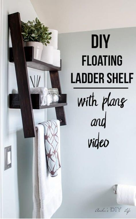 This is the shelf I have been waiting for! This DIY floating ladder shelf is so genius! Build a DIY floating ladder shelf with this step by step tutorial, plans and video. Build a unique combination of DIY ladder shelf and DIY floating shelf. Easy Woodworking Projects, Woodworking Furniture, Diy Wood Projects, Woodworking Plans, Popular Woodworking, Woodworking Classes, Woodworking Organization, Furniture Projects, Intarsia Woodworking