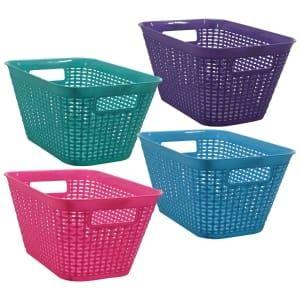 Bulk Essentials Rectangular Plastic Weave Baskets With Handles 6x11x7 75 In Dollar Tree With Images Basket Weaving Storage Baskets Basket