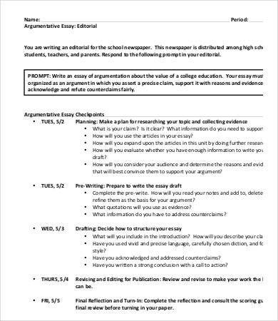 9 Argumentative Essay Templates Pdf Doc Free Amp Premium Templates Regarding Argumentative Essay Argumentative Essay Essay Examples Essay On Education