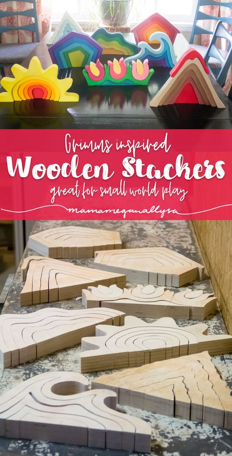 DIY stacker toys are great additions to small world play!You can find Wooden toys and more on our website.DIY stacker toys are great additions to small world play! Diy Pinterest, Pinterest Account, Mini Mundo, Small World Play, Stacking Toys, Boho Baby Shower, Homemade Toys, Homemade Crafts, Diy Holz