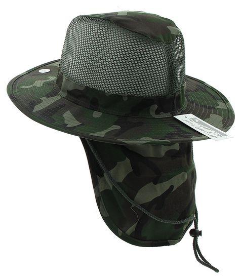 38c590960231b JFH Wide Brim Bora Booney Outdoor Safari Summer Hat w Neck Flap   Sun  Protection - Dark Green Camouflage - C511L1L4HVH - Hats   Caps