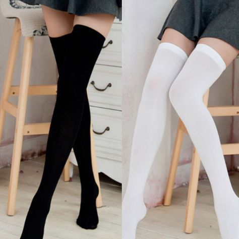 Velvet black and white long non-slip stockings Thigh High Socks Outfit, High Socks Outfits, Knee High Socks, Opaque Stockings, Black Stockings, Kpop Outfits, Cute Outfits, Long White Socks, Stockings Outfit