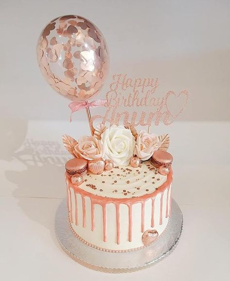 30th Birthday Cake For Women, Birthday Cake For Women Elegant, Candy Birthday Cakes, Elegant Birthday Cakes, Special Birthday Cakes, Beautiful Birthday Cakes, Bday Cakes For Girls, 13th Birthday, Mini Balloons