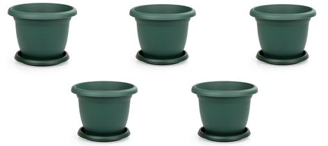 Plastic Round Flower Plant Pot and Saucer Planter. Grooved Base In and Outdoor. 0.6 Litre / 1 Litre / 1.7 Litre / 2.5 Litre / 3.7 Litre / 5 Litre / 8.8 Litre / 14 Litre / 22 Litre Single / Pack of 5 / Pack of 10 Terra Cotta / Antrasit / Green Our round flowerpot model is very stylish. It is designed to be stylish but also with the desired dimensions. In this way, small, large, or medium-sized villa if you want to immediately to place your order. You can use one of the colours you want in your en