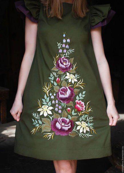 красная нить вышивка и рукоделие En 2019 Vestidos