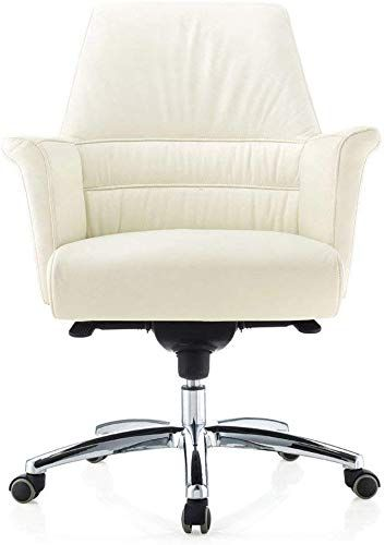 New Geffen Genuine Leather Aluminum Base Low Back Executive Chair White Online Shopping In 2020 Executive Chair