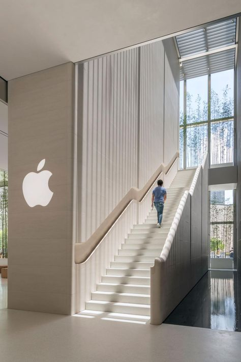 Stone staircase at the new Apple Store in Macau, by Foster + Partners
