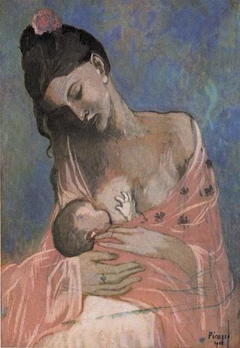 Maternidad (1901), Pablo Ruiz Picasso. Hay muchas obras este pintor que me gustaría poner aquí, algunas ya las he mostrado en otras tareas, y esta es una de esas que no puedo dejar en el cajón. Pertenece a su etapa azul, y es una pintura de las tantas en las que trato este tema, sin embargo, esta tiene algo especial.