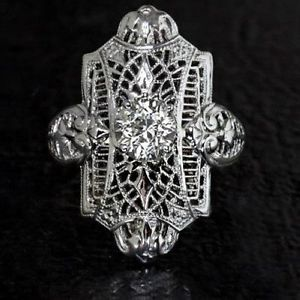 0.62ct RETRO OLD EURO DIAMOND VINTAGE ART DECO FILIGREE SOLITAIRE 14K RING, $995.00