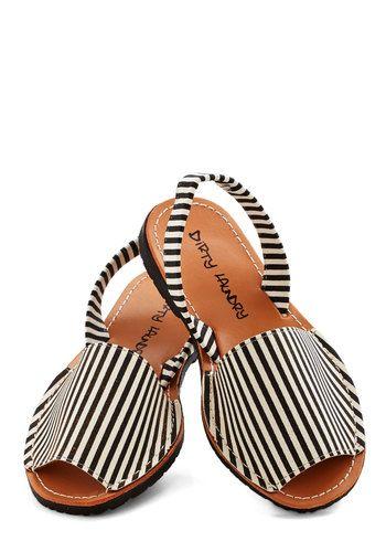 Santa Harmonica Sandal in Stripes - Flat, Faux Leather, Stripes, Weekend, Spring, Summer, Good, Slingback, Black, White, Casual, Beach/Resor...