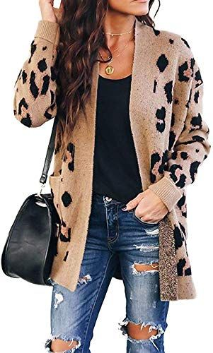 New LADIES ANIMAL LEOPARD PRINT KNITTED OPEN BOYFRIEND CARDIGAN JUMPER TOP