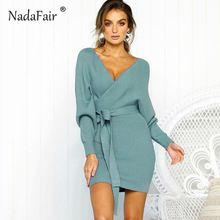 b89fdb7e8e6 Nadafair long sleeve v neck knitted dress women casual sash autumn winter  sweater dress female sexy elegant wrap pullover dress(China)