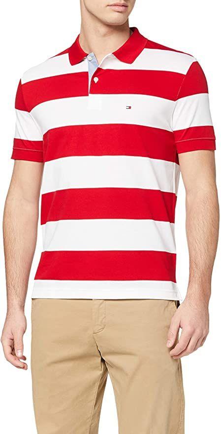 Tommy Hilfiger Herren Block Stripe Regular Polo Poloshirt In 2020 Poloshirt Shirts Poloshirt Manner