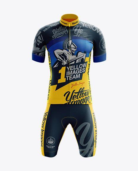 Men S Cycling Kit Mockup Front View In Apparel Mockups On Yellow Images Object Mockups Clothing Mockup Design Mockup Free Shirt Mockup