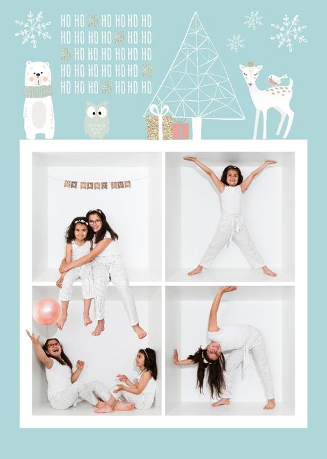 Winter Forest Holiday Card Digital Template Photo Collage Template Holiday Cards Digital Holiday Cards