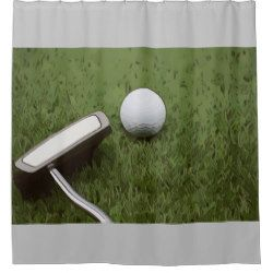 Golf Bathroom With Putter On Green Grass Shower Curtain Zazzle