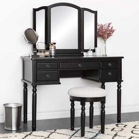 Best Choice Products Bedroom Vanity Hair Dressing Table Set With Tri Folding Mirror And Upholstered Stool Seat Black Walmart Com Mirrored Vanity Table Bedroom Desk Dressing Table Set