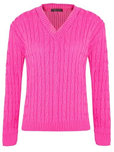 e30a8535661 SC_Textiles Womens Ladies Plain Chunky Cable Knitted V Neck Long ...