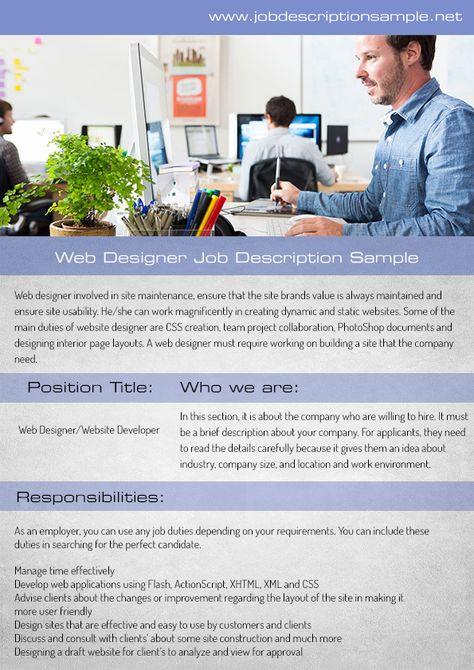 10 best job description sample images on Pinterest Job - management job description