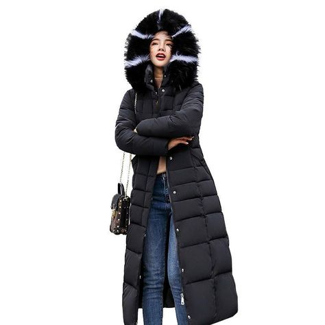 0023758bb083f Women Winter Jackets Black Faux Fur Hooded Military Long Parka Female  Cotton Padded Red Puffer Coats