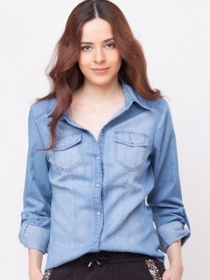 ONLY Faded Denim Shirt purchase from online store koovs.com ...