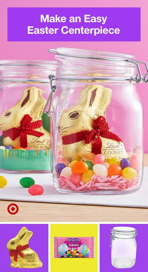Glass jars, grass, and small sweets make these Easter centerpieces an easy win.