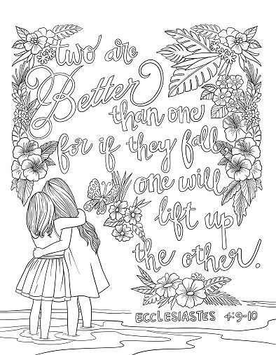 Scripture Coloring Page Ecclesiastes 4 9 10 Scripture Coloring Bible Verse Coloring Page Bible Coloring Pages
