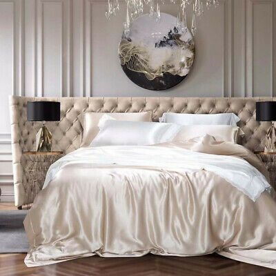 Pure Silk Duvet Cover Flat Sheet Pillowcases Luxury Real Silk Bedding Set 4 Pcs White Bed Sheets Silk Duvet Cover Bedding Set