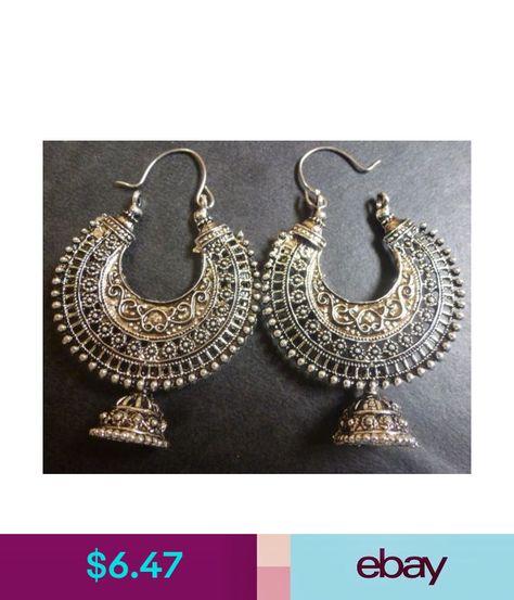 a91da461091913 Vintage Antique Silver Plated Chand Bali Half Circle Indian Earrings #ebay  #Fashion